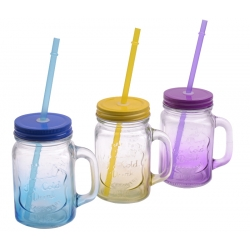 Kubek szklany z zakrętką i rurką 400 ml słoik KOLOR