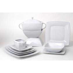 Serwis obiadowy na 12 osób biała porcelana 000e Lubiana Victoria 12/44 el.