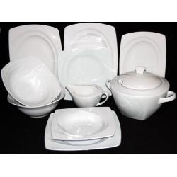 Serwis obiadowy na 12 osób biała porcelana 000e Lubiana Celebration 43 el.