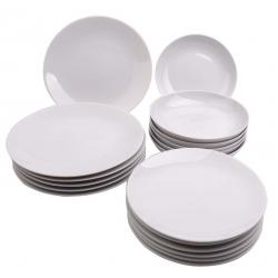 Komplet białych talerzy na 6 osób White Coup 18 el. (0P02)