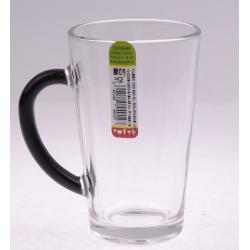 Kubek szklany Iwo czerne ucho 300 ml