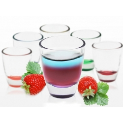 Komplet kieliszków do wódki kolorowe dno 25 ml BARYŁKA – 6 szt.