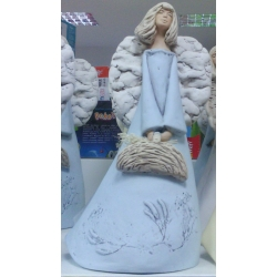 Figurka gipsowa ANIOŁ Anielica zielna z koszem 424