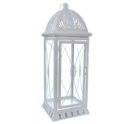 Latarnia metalowa biała średnia 43,5 cm MSL3667 lampion