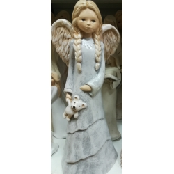 Figurka Anioł z misiem Lena - aniołek gipsowy (8022)