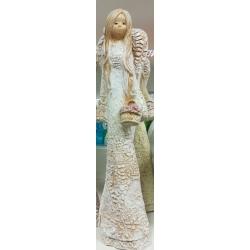 Figurka Anioł gipsowy Anielica koronkowa z koszykiem (8065)