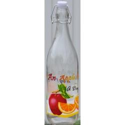 KOKO szklana butelka z klipsem zdobiona 1000ml