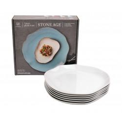Lubana Stone Age biały 000e komplet 6 talerzy płytkich 25cm